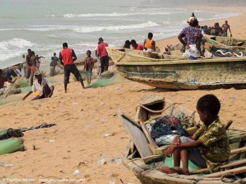 Togo - fishermen at the beach
